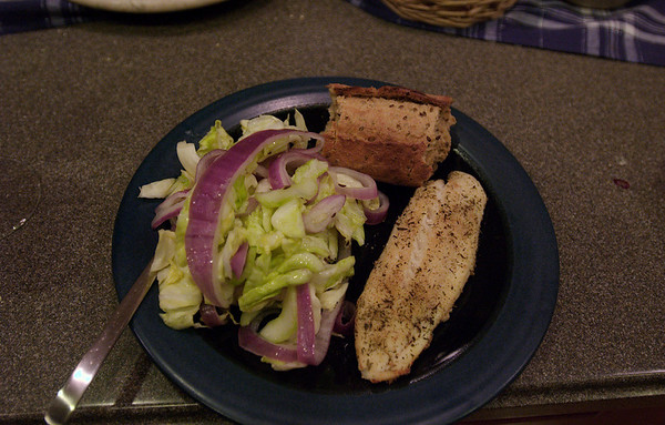 Dinner: Pickled Cabbage Salad and Baked Fish