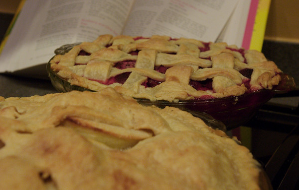 Apple and Strawberry Rhubarb pies from scratch